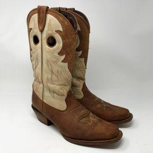 "Durango ""Crush"" Cream & Brown Cowboy Boots 9M"